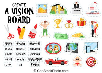 Create vision board set constructor with doodle images of scissors glue and cut out picture elements vector illustration