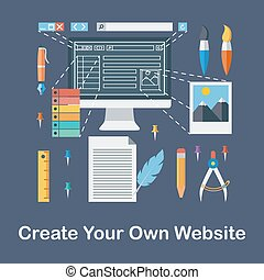 Create your own website - Flat Design Vector Illustration...