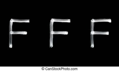 Created by light alphabet over black background. F. UHD