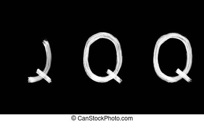 Created by light alphabet over black background. Q. UHD