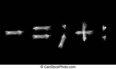 Created by light alphabet over black background. symbols....