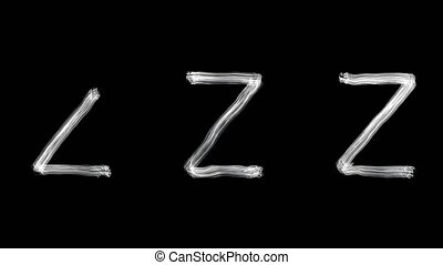 Created by light alphabet over black background. Z. UHD
