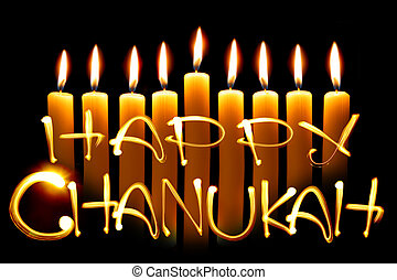 Created by light text Happy Chanukah and candles over black background