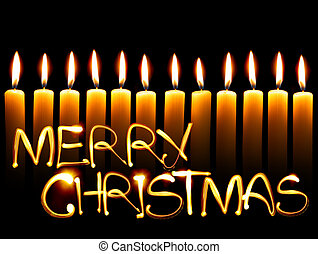 Merry Christmas - Created by light text Merry Christmas and...