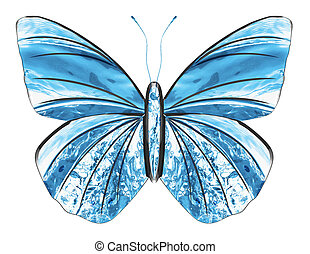 Created from water splash. Art blue butterfly isolated on white background