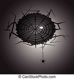Created halloween night spider and web, stock vector