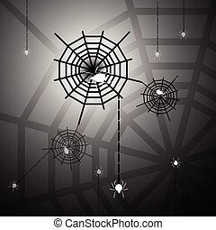 Created halloween night with spiders and webs, stock vector
