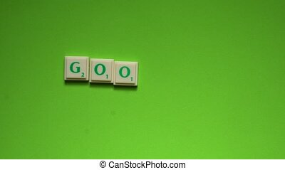 "Created word of ""goodbye"" with the letters on the green..."
