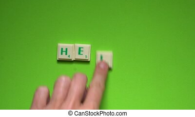 """Created word of """"hello"""" with the letters on the green..."""