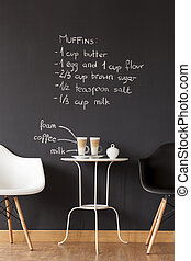 creater, a, confortable, café, dans, ton, propre, plat