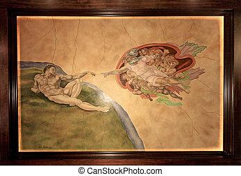 creatie, adam, mural