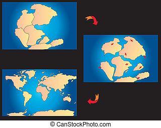 creatie, van, de, continenten