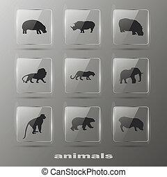 creatief, communie, -, animal., iconen, set., eps10