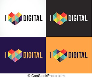 creatief, digitale , abstract, kleurrijke, iconen, communie, en, symbolen, logo, verzameling, mal