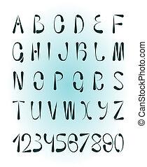 creatief, getallen, alfabet