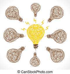 creatief, gloed, bol, idee, concept