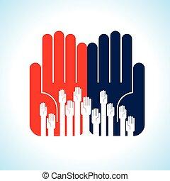 creatief, groep, handen