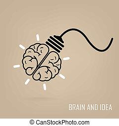 creatief, hersenen, symbool, symbool, meldingsbord, opleiding, pictogram