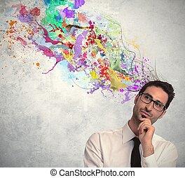 creatief, idee, van, zakenman