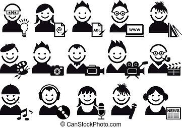 creatief, mensen, vector, iconen