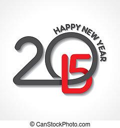 creatief, ontwerp, jaar, 2015, nieuw, vrolijke