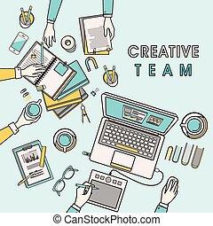 creatief, plek, werkende , team