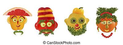 creatief, set, van, voedingsmiddelen, concept., een, weinig,...