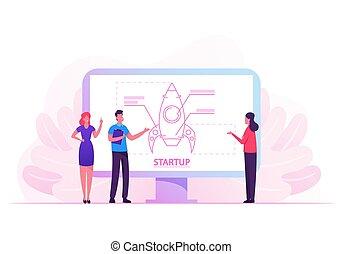 creatief, success., idee, screen., launch., vector, team,...