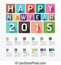 /, creatief, year., 2015, nieuw, kalender, vrolijke ,...
