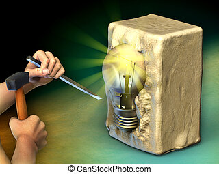 Creating an idea - A man is sculpting a block of stone into...