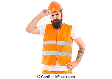 Creating solid foundation. Man protective hard hat and uniform white background. Worker builder confident and successful. Protective equipment concept. Builder enjoy success. Strong handsome builder