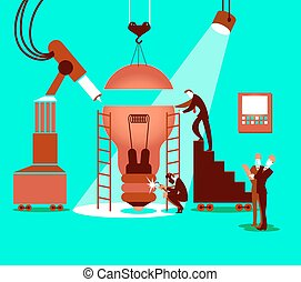 Creating the idea together in the factory. Vector illustration
