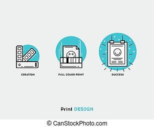 Creation, full color print, success flat illustration Set of line modern icons