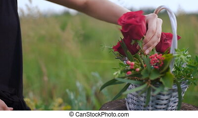 Creation of a flower arrangement of roses. Female hands...