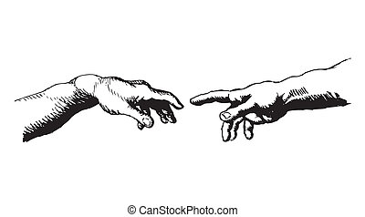 My hand drawn impression of Michelangelo's famous hands