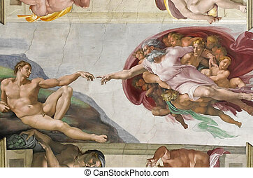 Creation of Adam by Michelangelo in Sistine Chapel