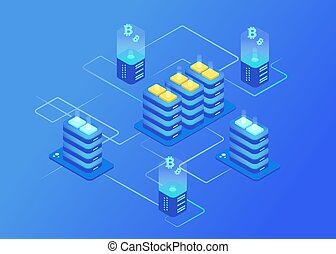 Cryptocurrency and blockchain. Bitcoin mining farm.