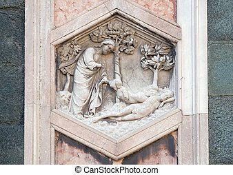 Creation of Eve by Andrea Pisano, 1334-36., Relief on Giotto...