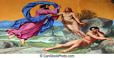 Creation of Eve, painting on the facade, Saint Vincent de...