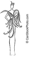 creation of evening dress with feathers - sketch of fashion...