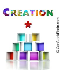 Creation with colorful 3d design illustration