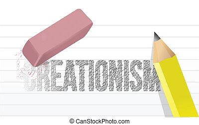 creationism eraser illustration design over a white...