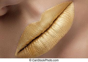 creativ, labios, moda, oro