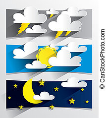 Creative 3D Cartoon Weather Banners