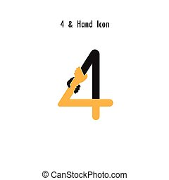 Creative 4- Number icon abstract and hands icon design vector template.Business offer,partnership,hope,support or help concept.Corporate business and industrial logotype symbol.