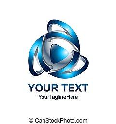 Creative abstract 3d media play button vector logo design template element. Colored silver blue concept icon