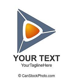 Creative abstract 3d media play button vector logo design template element. Colored silver blue orange concept icon