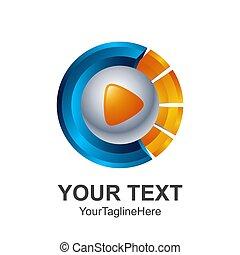 Creative abstract Circle 3d media play button vector logo design template element. Colored silver blue orange concept icon