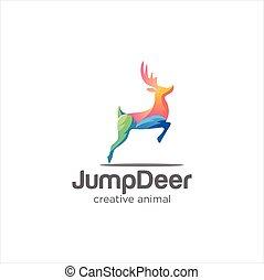 Creative Abstract Colorful Horns, antelopes, elk, moose, Cervinae,muntjac, fallow deer, chital, Capreolinae, reindeer, chevrotains, Ruminantia And deer Logo Tech Colorful Design Illustration.