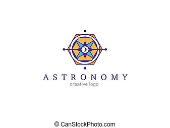 creative, abstract, colorful logo on astronomy